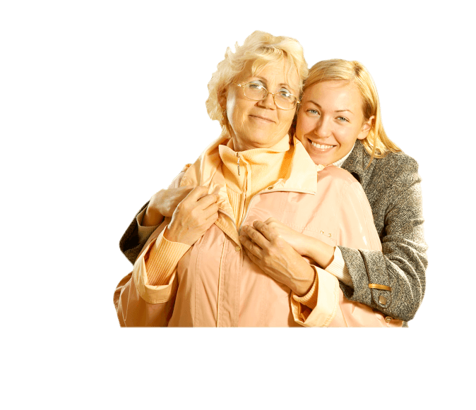 old woman with her caregiver